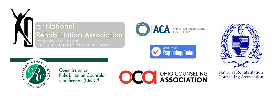 logos for certified rehabilitation clinical counselor therapist american counseling association national rehabilitation association ohio counseling association